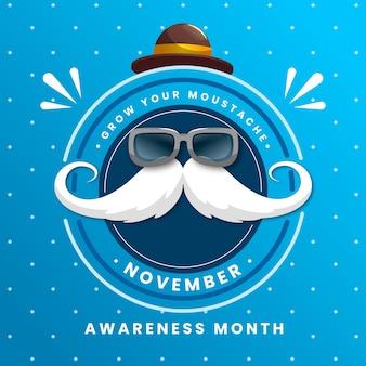 Movember hintergrund flaches design