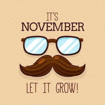 Movember-hintergrund mit dem schnurrbart und den gläsern