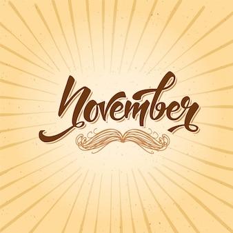Movember hintergrund mit schriftzug