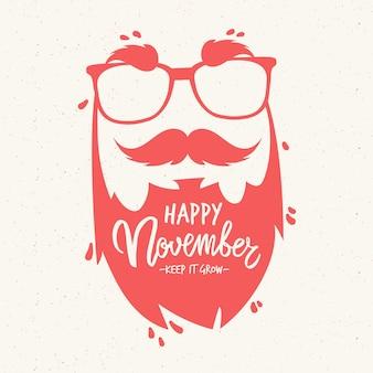 Movember-hintergrundzusammensetzung mit beschriftung