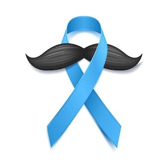 Movember - monat des bewusstseins für prostatakrebs. männergesundheitskonzept. schnurrbart und blaues band symbol. gut für plakat, banner, karte.