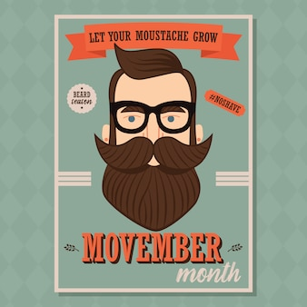 Movember-plakatdesign, prostatakrebsbewusstsein, hippie-mann mit bart und schnurrbart
