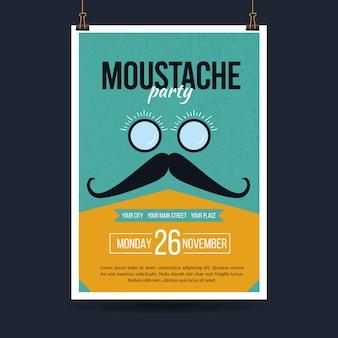 Movember-plakatschablone im flachen design