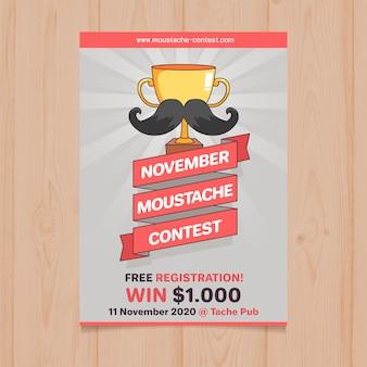 Movember schnauzte wettbewerbsplakatschablone