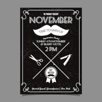 Movember schnurrbart wettbewerb plakat