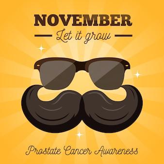 Movember-schnurrbartbewusstseinshintergrund im flachen design mit sonnenbrille