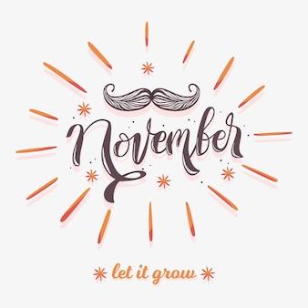 Movember-schnurrbartbewusstseinshintergrund mit beschriftung