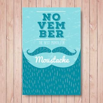 Movember vintage-bart broschüre mit handgezeichneten linien