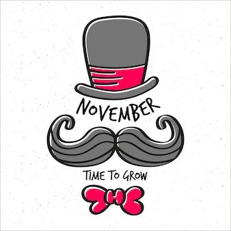 Movember zeit, hintergrund mit hut, dem schnurrbart und der fliege zu wachsen