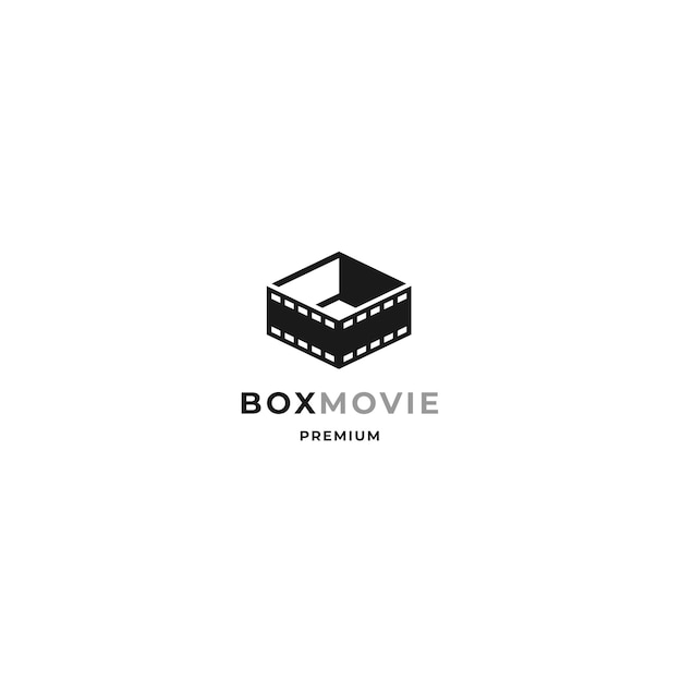 Movie box logo mit filmstreifen und open box design konzept und minimalistischem stil