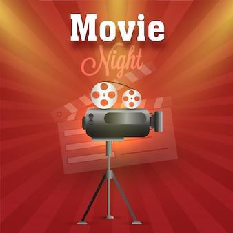 Movie night, poster, banner oder flyer design.