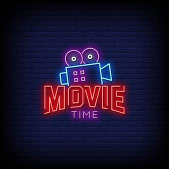 Movie time logo neonschilder style text
