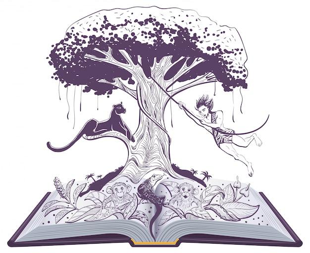 Mowgli-dschungelbuch und -panther auf baum. offenes buch illustration