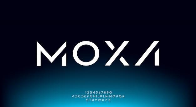 Moxa, eine abstrakte futuristische alphabetschrift mit technologiethema. modernes minimalistisches typografie-design premium