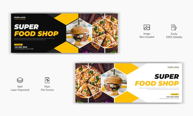 Mozaic stil restaurant food sale bieten social media post facebook deckblatt timeline web ad banner vorlage