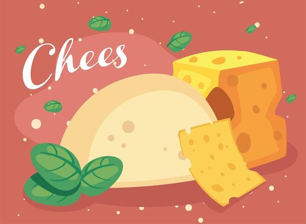 Mozzarella-käse mit blättern und wortkäse
