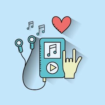 Mp3 mit kopfhörern zum hören und musizieren