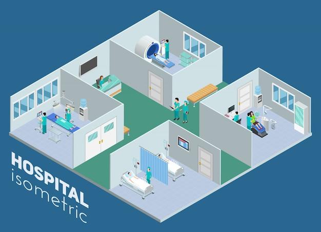 Mri-scanoperationsraum der isometrischen medizinischen krankenhausinnenansicht und der intensivpflegestation-plakatzusammenfassungs-vektorillustration