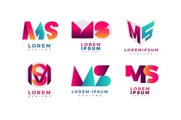 Ms-logo-kollektion mit farbverlauf