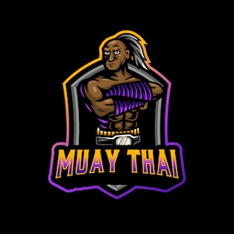 Muay thai maskottchen logo esport gaming