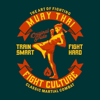Muay thai retro illustration im flachen design