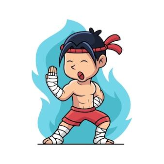 Muay thailändischer kämpfer mit kampfpose. cartoon-vektor-illustration isoliert auf premium-vektor