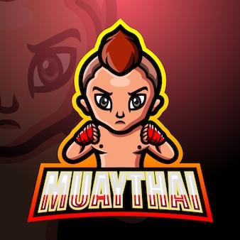 Muaythai maskottchen esport logo design