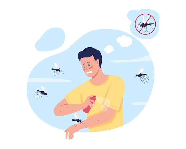 Mücken fernhalten beim sommercamping 2d isoliert. verwendung von insektenschutzmitteln. gestresster mann flacher charakter auf cartoon. auftragen von mückenspray