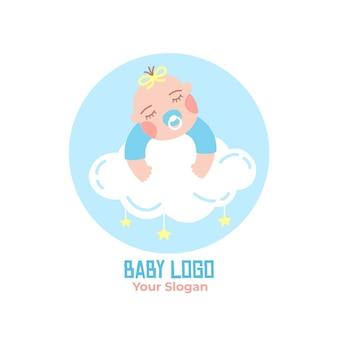 Müde baby-logo-vorlage