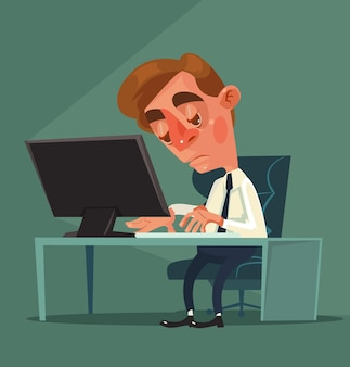 Müde büroangestellter-mann-charakter-flache cartoon-illustration