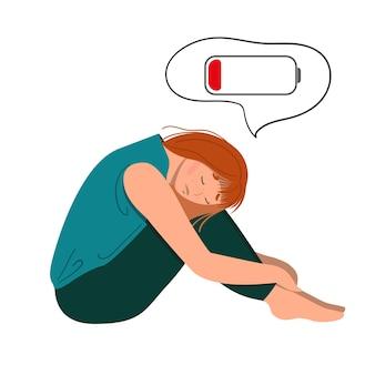 Müde frau, die auf dem bodenkonzept des emotionalen burnouts oder der geistesstörung sitzt