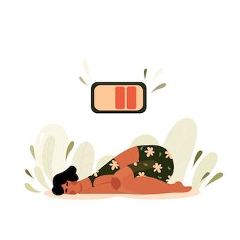 Müde frau liegt auf dem boden. hand der schlafenden person gezeichnet. mädchen fiel aus energiemangel mit der batterie an der spitze