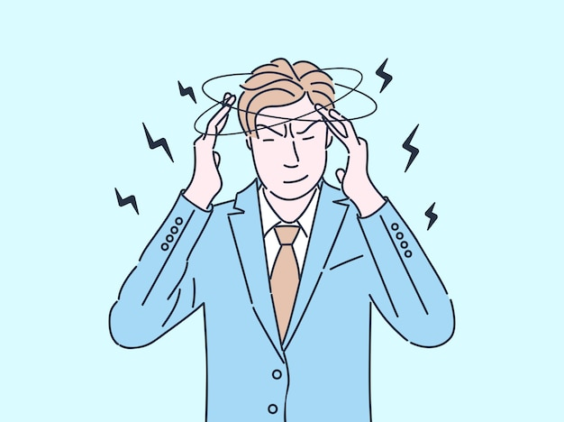 Müde geschäftsmann flache farbillustration. mann, der sich erschöpft und ungesund fühlt, kopfschmerzen hat, schwindel isolierte zeichentrickfigur mit umriss. gestresster, überarbeiteter mitarbeiter mit migräne
