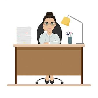 Müde mädchen bei der arbeit am bürotisch. büroangestellter. langeweile. flache illustration.
