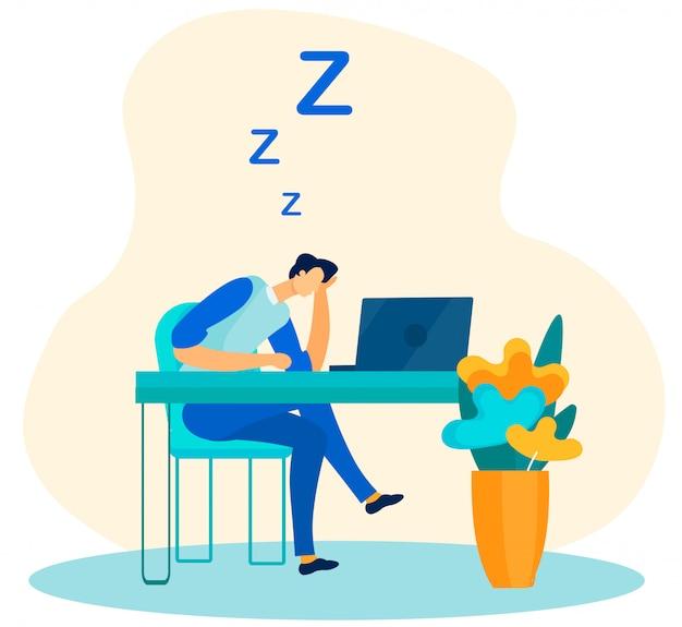 Müde männliche arbeitskraft, die in der büro-flachen karikatur schläft