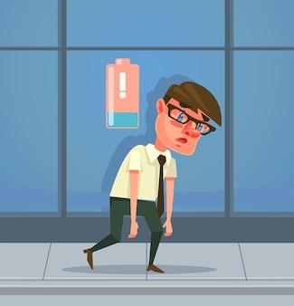 Müde mann büroangestellter charakter hat keine energie flache cartoon-illustration
