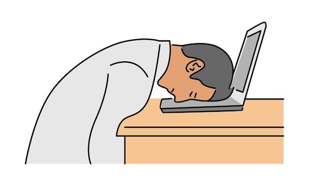 Müde mitarbeiter schlafen am arbeitsplatz auf laptop-tastatur