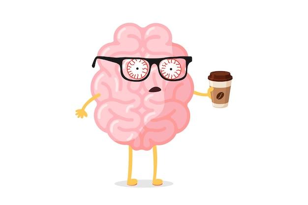 Müde müdigkeit schlechte emotionen niedliche menschliche gehirn zeichentrickfigur mit heißer kaffeetasse. das organ des zentralen nervensystems wacht am montagmorgen auf, lustiges konzept. vektor-illustration