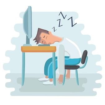 Müder angestellter, der am arbeitsplatz auf laptoptastatur schläft