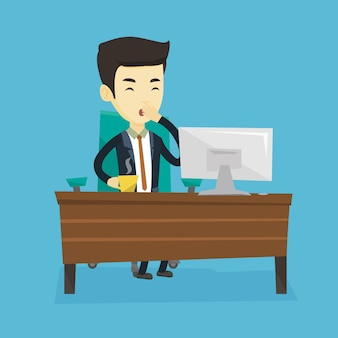 Müder angestellter, der im büro gähnt.