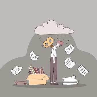 Müder büroangestellter mit dokumenten