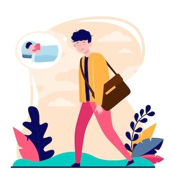 Müder erwachsener büroangestellter, der ohne kaffee zur arbeit geht