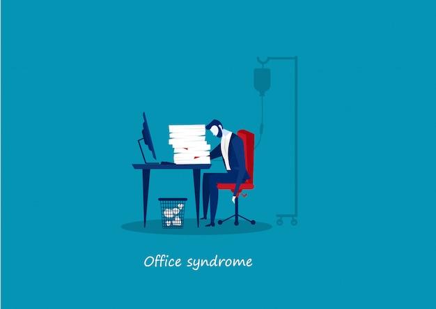 Müder geschäftsmann im büro mit bürosyndrom-gesundheitskonzept