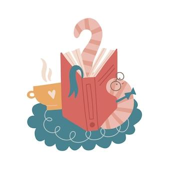 Müder lustiger bücherwurm, der sich nach längerem lesen eines buches dehnt, das abend zu hause mit ...