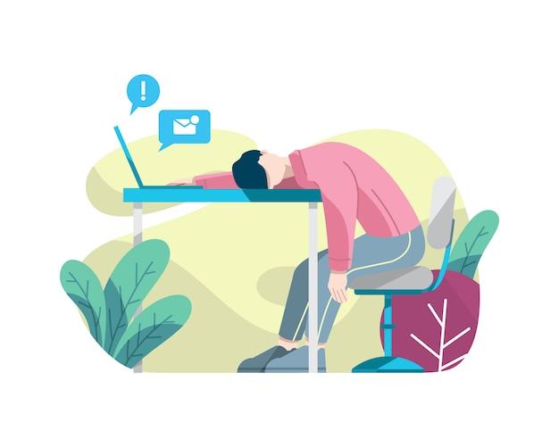 Müder mann, der an der arbeitsvektorillustration schläft