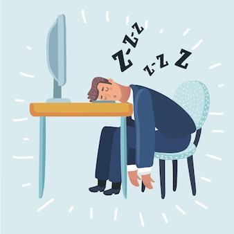 Müder mann, der im büro schläft und auf einem roten stuhl hinter dem schreibtisch sitzt.