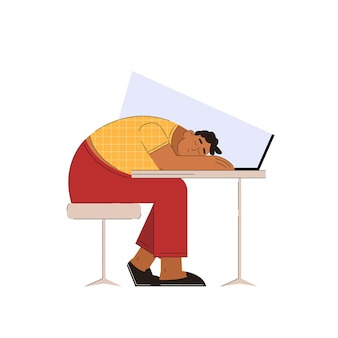 Müder mann, der im trendigen flachen stil am arbeitsplatz schläft
