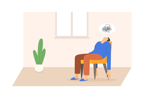 Müder mann in depression sitzt auf einer stuhlvektorillustration, die im flachen stil isoliert ist
