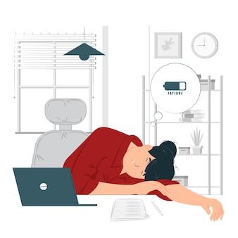 Müder mitarbeiter mit arbeitskonzept erschöpft
