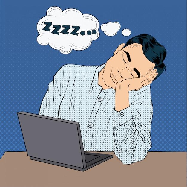 Müder schlafender geschäftsmann bei der arbeit. pop art style mann mit laptop